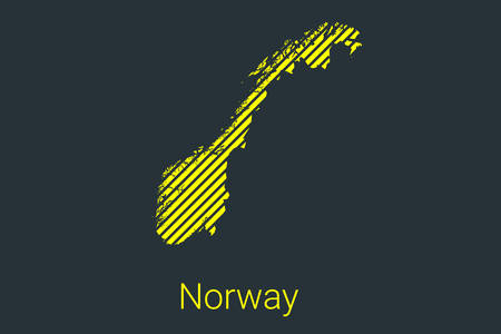 Map of Norway, striped map in a black strip on a yellow background for coronavirus infographics and quarantine area markers and restrictions. vector Illusztráció