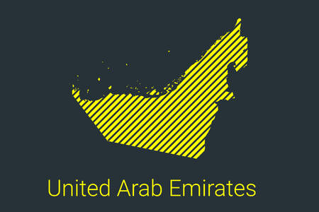 Map of United Arab Emirates, striped map in a black strip on a yellow background for coronavirus infographics and quarantine area markers and restrictions. vector