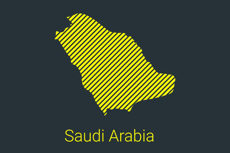 Map of Saudi Arabia, striped map in a black strip on a yellow background for coronavirus infographics and quarantine area markers and restrictions. vector