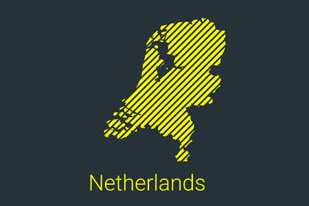 Map of Netherlands, striped map in a black strip on a yellow background for coronavirus infographics and quarantine area markers and restrictions. vector Illusztráció