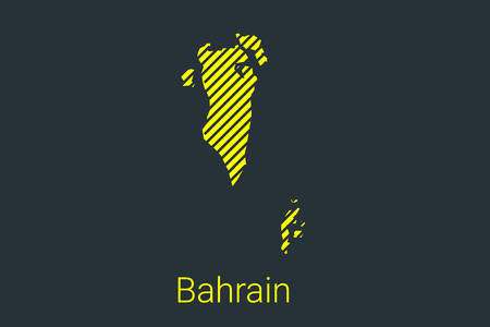 Map of Bahrain, striped map in a black strip on a yellow background for coronavirus infographics and quarantine area markers and restrictions. vector Illusztráció