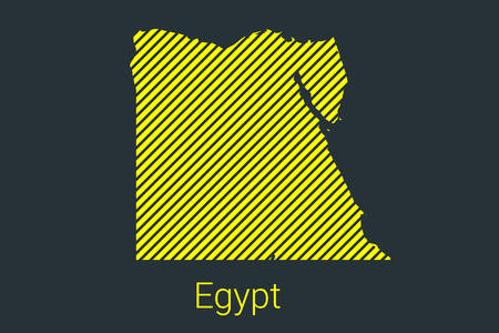 Map of Egypt, striped map in a black strip on a yellow background for coronavirus infographics and quarantine area markers and restrictions. vector illustration Illusztráció