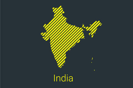 Map of India, striped map in a black strip on a yellow background for coronavirus infographics and quarantine area markers and restrictions. vector illustration
