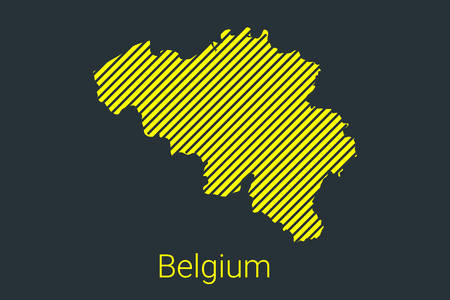 Map of Belgium, striped map in a black strip on a yellow background for coronavirus infographics and quarantine area markers and restrictions. vector illustration