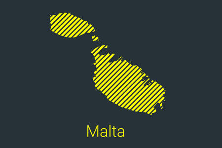 Map of Malta, striped map in a black strip on a yellow background for coronavirus infographics and quarantine area markers and restrictions. vector illustration