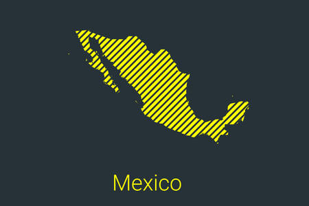 Map of Mexico, striped map in a black strip on a yellow background for coronavirus infographics and quarantine area markers and restrictions. vector Stock fotó - 147494168