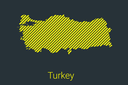 Map of Turkey, striped map in a black strip on a yellow background for coronavirus infographics and quarantine area markers and restrictions. vector Illusztráció
