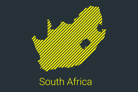 Map of South Africa, striped map in a black strip on a yellow background for coronavirus infographics and quarantine area markers and restrictions. vector Illusztráció