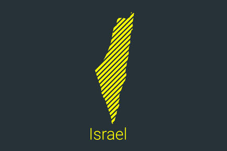 Map of Israel, striped map in a black strip on a yellow background for coronavirus infographics and quarantine area markers and restrictions. vector Illusztráció