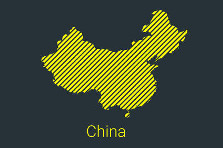 Map of China, striped map in a black strip on a yellow background for coronavirus infographics and quarantine area markers and restrictions. vector