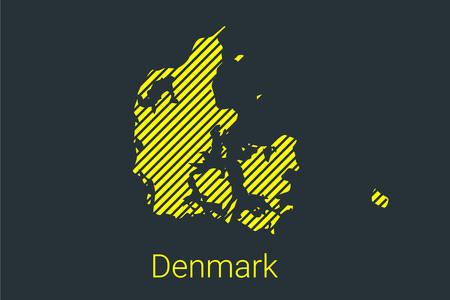 Map of Denmark, striped map in a black strip on a yellow background for coronavirus infographics and quarantine area markers and restrictions. vector