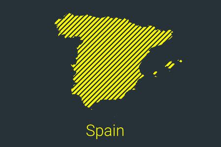 Map of Spain, striped map in a black strip on a yellow background for coronavirus infographics and quarantine area markers and restrictions. vector illustration Illusztráció
