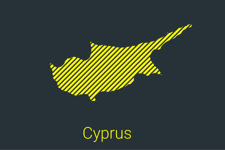 Map of Cyprus, striped map in a black strip on a yellow background for coronavirus infographics and quarantine area markers and restrictions. vector illustration