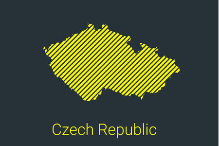 Map of Czech Republic, striped map in a black strip on a yellow background for coronavirus infographics and quarantine area markers and restrictions. vector illustration
