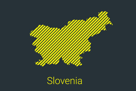 Map of Slovenia, striped map in a black strip on a yellow background for coronavirus infographics and quarantine area markers and restrictions. vector illustration Stock fotó - 147494179