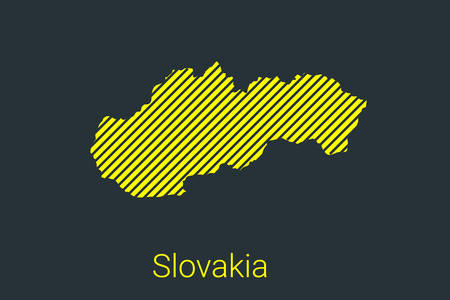 Map of Slovakia, striped map in a black strip on a yellow background for coronavirus infographics and quarantine area markers and restrictions. vector illustration