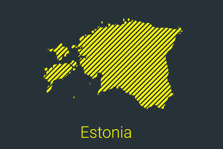 Map of Estonia, striped map in a black strip on a yellow background for coronavirus infographics and quarantine area markers and restrictions. vector illustration