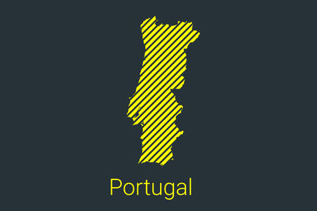 Map of Portugal, striped map in a black strip on a yellow background for coronavirus infographics and quarantine area markers and restrictions. vector illustration