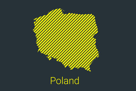 Map of Poland, striped map in a black strip on a yellow background for coronavirus infographics and quarantine area markers and restrictions. vector illustration Illusztráció