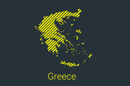 Map of Greece, striped map in a black strip on a yellow background for coronavirus infographics and quarantine area markers and restrictions. vector illustration