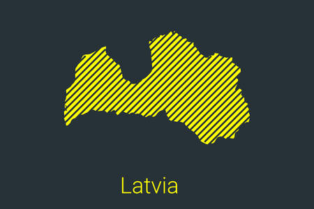 Map of Latvia, striped map in a black strip on a yellow background for coronavirus infographics and quarantine area markers and restrictions. vector illustration