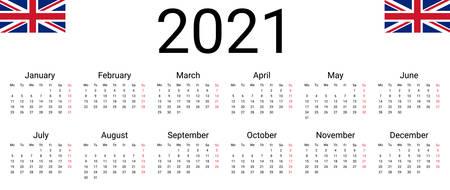 UK 2021 calendar. English Vector design template start from monday. Full months for wall calendar Stock fotó - 147494196