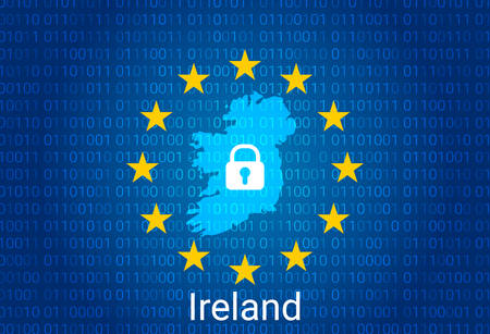 Map of Ireland, with lock and binary code background. europe union internet blocking, virus attack, privacy protect. vector illustration Иллюстрация