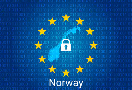 Map of Norway, with lock and binary code background. europe union internet blocking, virus attack, privacy protect. vector illustration