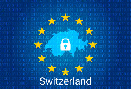 Map of Switzerland, with lock and binary code background. europe union internet blocking, virus attack, privacy protect. vector illustration