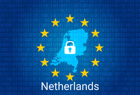 Map of Netherlands, with lock and binary code background. europe union internet blocking, virus attack, privacy protect. vector illustration Imagens - 147457713