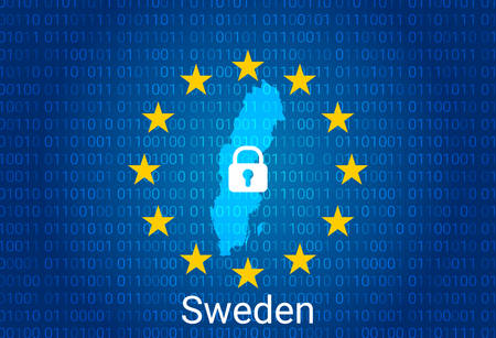 Map of Sweden, with lock and binary code background. europe union internet blocking, virus attack, privacy protect. vector illustration Imagens - 147457438