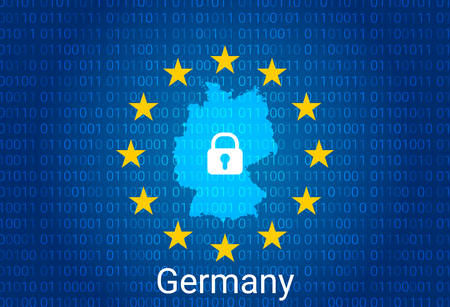 Map of Germany, with lock and binary code background. europe union internet blocking, virus attack, privacy protect. vector illustration