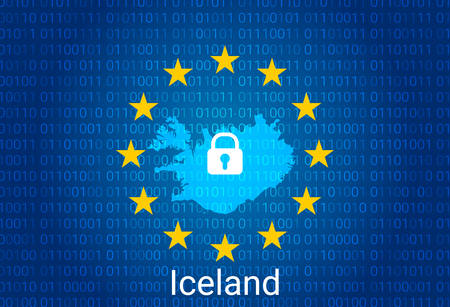 Map of Iceland, with lock and binary code background. europe union internet blocking, virus attack, privacy protect. vector illustration