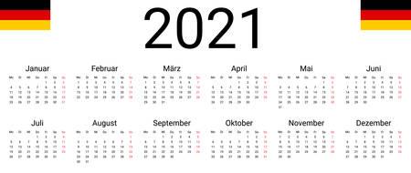 Germany 2021 calendar. Vector design template start from monday. Full months for wall calendar