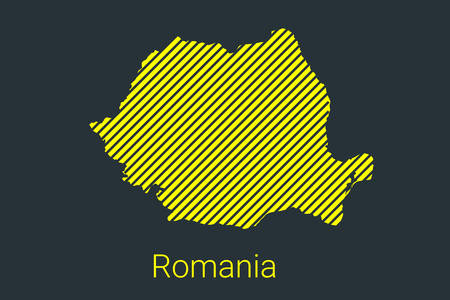 Map of Romania, striped map in a black strip on a yellow background for coronavirus infographics and quarantine area markers and restrictions. vector illustration