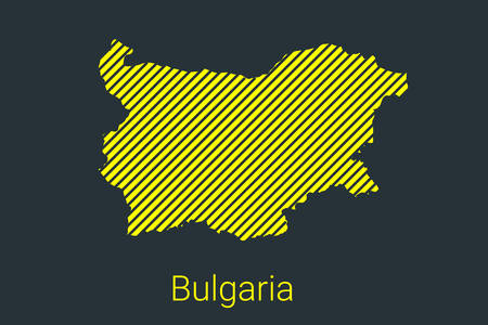 Map of Bulgaria, striped map in a black strip on a yellow background for coronavirus infographics and quarantine area markers and restrictions. vector illustration Stock fotó - 147494198