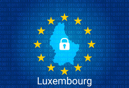 Map of Luxembourg, with lock and binary code background. europe union internet blocking, virus attack, privacy protect. vector illustration