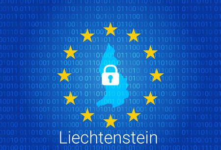 Map of Liechtenstein, with lock and binary code background. europe union internet blocking, virus attack, privacy protect. vector illustration