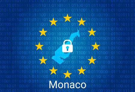 Map of Monaco, with lock and binary code background. europe union internet blocking, virus attack, privacy protect. vector illustration