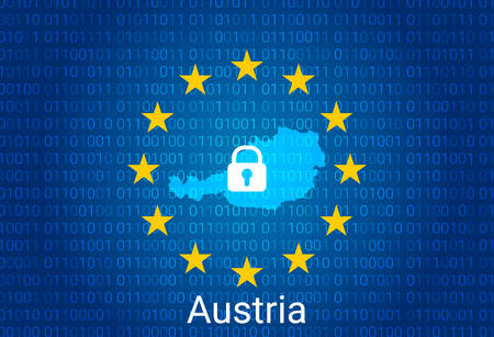 Map of Austria, with lock and binary code background. europe union internet blocking, virus attack, privacy protect. vector illustration