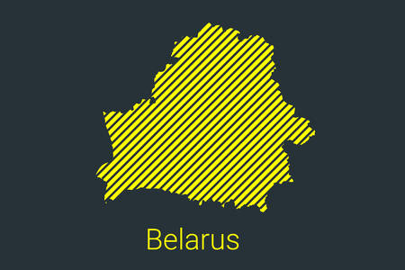 Map of Belarus, striped map in a black strip on a yellow background for coronavirus infographics and quarantine area markers and restrictions. vector illustration