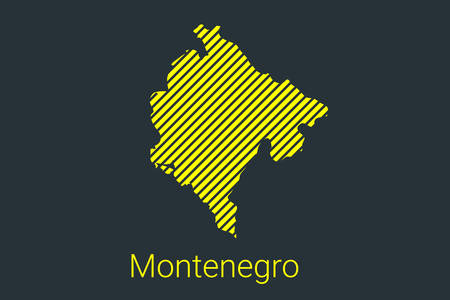 Map of Montenegro, striped map in a black strip on a yellow background for coronavirus infographics and quarantine area markers and restrictions. vector illustration