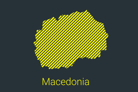 Map of Macedonia, striped map in a black strip on a yellow background for coronavirus infographics and quarantine area markers and restrictions. vector illustration Stock Illustratie