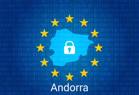Map of Andorra, with lock and binary code background. europe union internet blocking, virus attack, privacy protect. vector illustration
