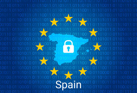 Map of Spain, with lock and binary code background. europe union internet blocking, virus attack, privacy protect. vector illustration