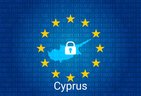 Map of Cyprus, with lock and binary code background. europe union internet blocking, virus attack, privacy protect. vector illustration