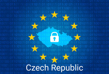Map of Czech Republic, with lock and binary code background. europe union internet blocking, virus attack, privacy protect. vector illustration Stock Illustratie