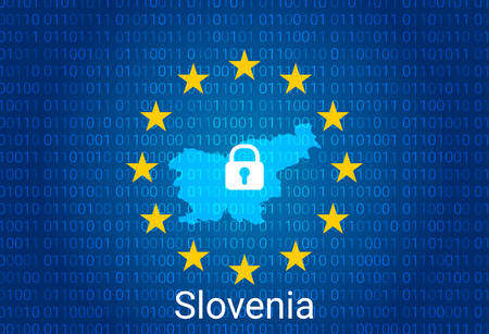 Map of Slovenia, with lock and binary code background. europe union internet blocking, virus attack, privacy protect. vector illustration Stock Illustratie