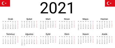 Turkish 2021 calendar. Vector design template start from monday. Full months for wall calendar