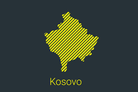 Map of Kosovo, striped map in a black strip on a yellow background for coronavirus infographics and quarantine area markers and restrictions. vector illustration